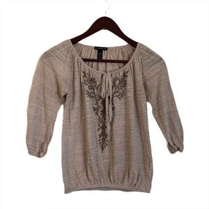 Fang Tan Brown Embroidered Long Sleeve Top